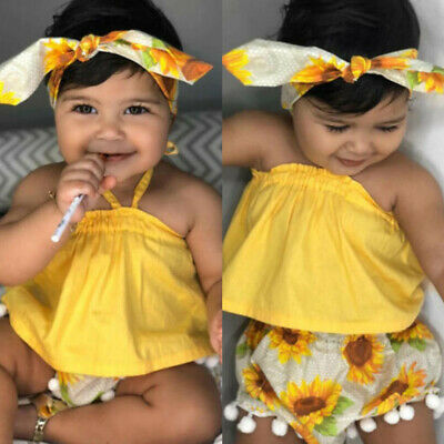 3PCS Toddler Kids Baby Girl Sunflower Crop Tops Shorts Dress Outfits Sunsuit New