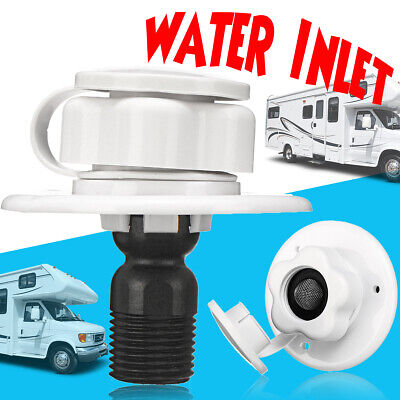 Water Inlet W/ Check Valve RV Car White Plastic City Fill Flange Trailer Marine