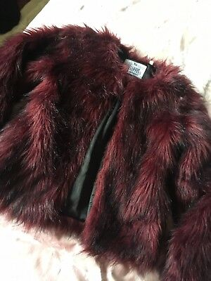 Girls Tu Superior Outfitters Deep Red Black Hairy Furry Dressy Jacket Age9-10 Yr
