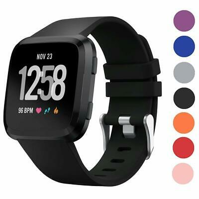 Fitbit Versa Wristband Replacement Watch Strap Sport Silicone Black Large Small