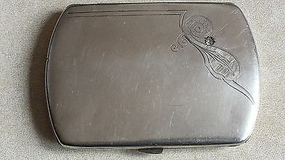 VINTAGE LADIES SILVER CIGARETTE CASE with TRANSPARENT STONE / HALLMARKED 800