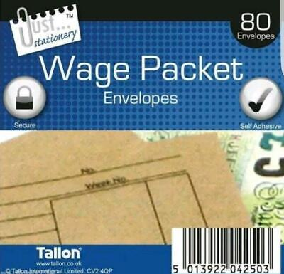 Pack of 80 Quality Wage Slip Money Envelopes Brown Manilla Self Seal