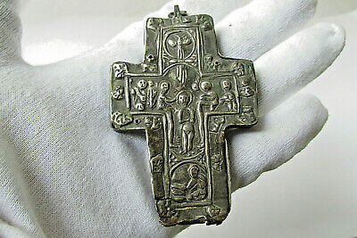 Ancient Antique Reliquary Christians Silver Cross Pendant