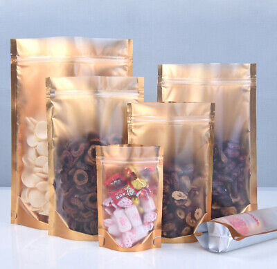 Clear Gold Stand Up Aluminum Foil Zip Lock Bags Resealable Mylar Food Pouches