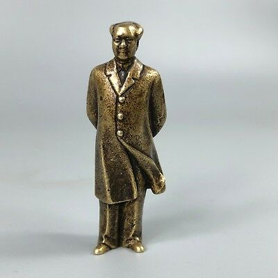 Exquisite Chinese Collectible Old Brass Handwork Leader Chairman Mao Statue