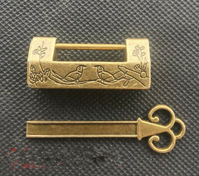 Chinese Old pure brass Magpie plum flower small lock YR