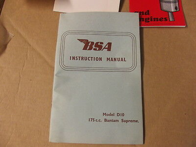 Bsa D10 175Cc Bantam Supreme Instruction Manual