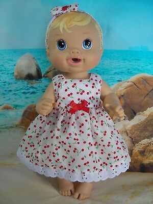 Dolls clothes~33cm Baby Alive 32cm Little Baby Born Doll RED CHERRY DRESS & BOW