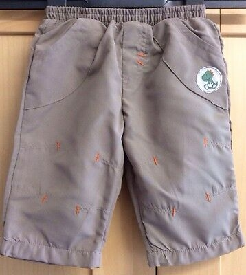Baby Boy Light Cool Lined Trousers Age 3-6 Months Khaki Dinosaur Elasticated