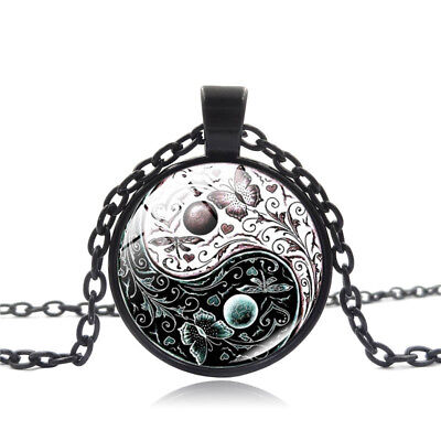 Necklace Yang Yin Pendant Black Chain Butterfly Charm Jewelry Glass Cabochon