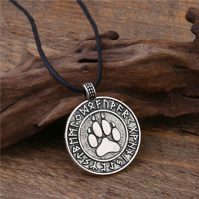 Celtic Wolf Paw Pendant Necklace Viking Rune Norse Amulet Adjustable Cord Silver
