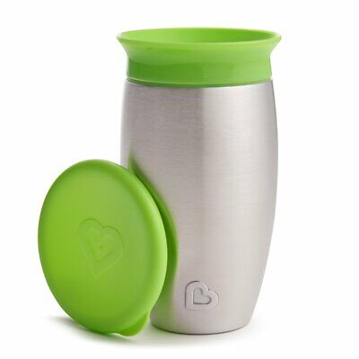 Munchkin Miracle Stainless Steel 360 Degree Sippy Cup, 296 ml, Green