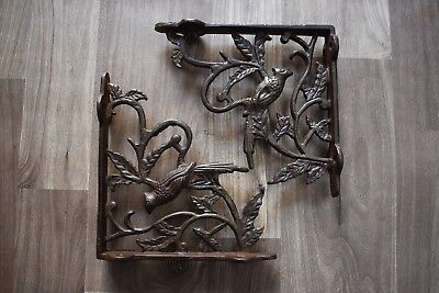 vintage pair of cast iron antique Victorian style exotic bird Wall brackets