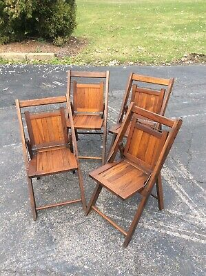 Vintage / Antique 4 Same Wood Children's Folding Chairs - Very Nice