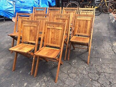 10 Same Vintage / Antique Simmons Adult Wood Folding Chairs - Very Nice