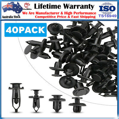 40 Car Fastener Fender Bumper Rivet Door Trim Engine Cover Push Clip 6-10mm Hole