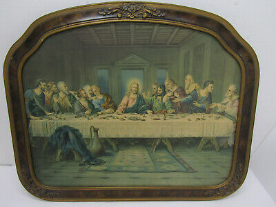 Old Vintage Religious Picture Jesus The Last Supper Dinner Praying Wood Frame