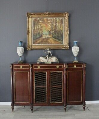 Antique French vintage mahogany four door Louis buffet side board cabinet