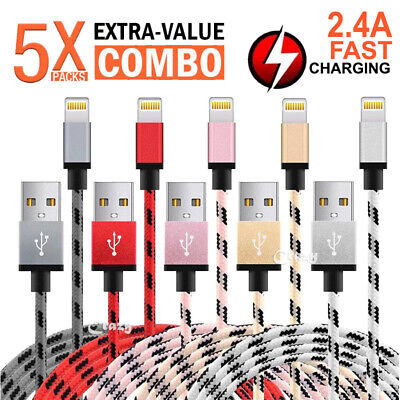 5x Apple iPhone 8 7 6S Plus X XS Max XR iPad Lightning Charging Charger Cable
