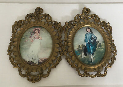 vintage ornate plastic frame baroque rococo style  picture set boy and girl