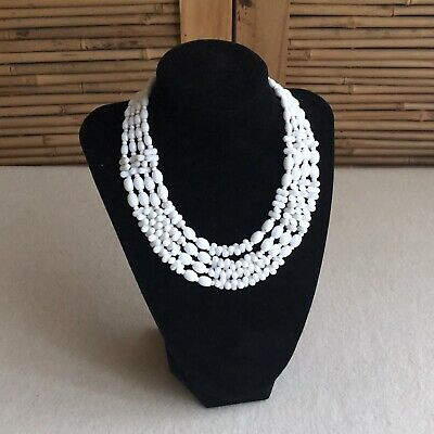 Vintage ART DECO Czech WHITE Milk GLASS Beads 4 MULTI Strand CHOKER Necklace