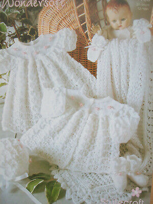 baby Girls MATINEE COAT DRESS SHAWL KNITTING PATTERN 3 ply 12 - 18in Prem - 6mth