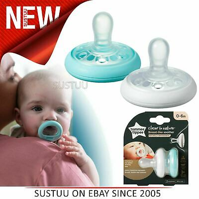 Tommee Tippee Closer to Nature Breast Like Soothers 0-6m 2Pk|Orthodontic|0-6m
