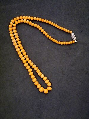 Antique Chinese Natural Coral Bead Necklace W/ Silver Clasp, Made For Export