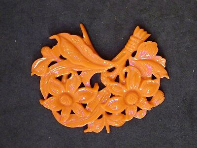 Large Antique Chinese Carved Natural Coral Pendant W/ Flowers & Leaves