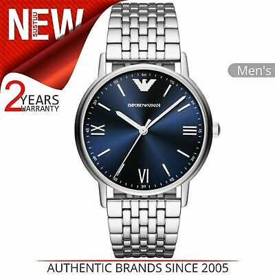 Emporio Armani Mens Watch AR8001│Round Blue Dial│Silver Stainless Steel Bracelet