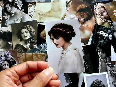 50 Vintage lady Photo Ephemera Image Scrapbook Junk journal Card Making kits