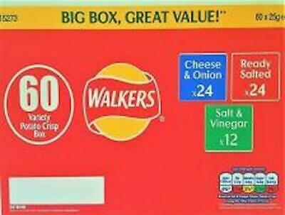 Walkers Variety Box Crisps 60 Pack, Cheese & Onion, Ready Salted, Salt & Vinegar