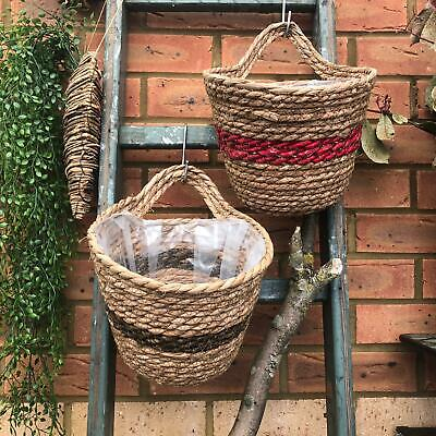 Round Wicker Hanging Plant Basket Wall Storage Vintage Style Rustic Veg Holder