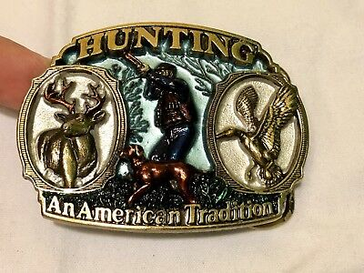 The Great American Circus Heavy Men's Belt Buckle 1986 Made in USA Dog Duck Deer