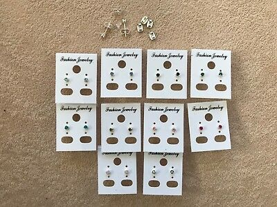 JOBLOT-10 pairs of 0.35cm colour diamante stud earrings.Silver plated.UK made.