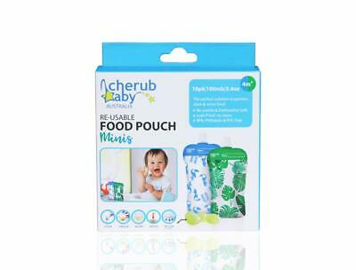 Cherub Baby On The Go Reusable Mini Food Storage Pouches, Green/Blue, 10 Piece