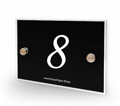 Home Number 8 House Sign Plaque Address Contemporary Style No 8