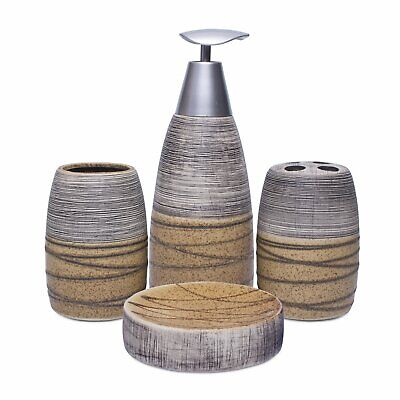 Ceramic Set with Soap Dispenser,Tumbler, Toothbrush Holder and Soap Dish 4pcs