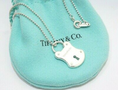 """Tiffany & Co. Sterling Silver Lock Key Hole Pendant Ball Chain Necklace 18"""""""