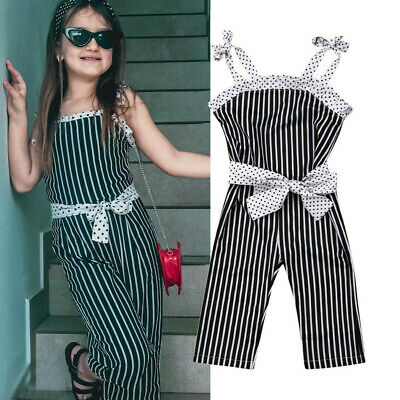 Toddler Kids Baby Girls Striped Strap Bow Romper Jumpsuit One Pieces Outfits