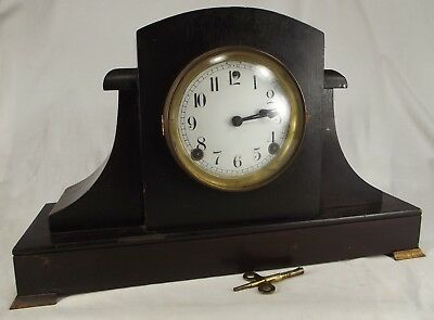 antique SESSIONS MANTEL CLOCK wood brass PORCELAIN ENAMEL FACE key 8-day UNIQUE