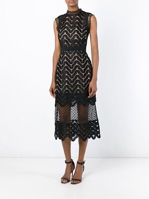 ebe0609cff93 Self Portrait Black Sequin Mesh High Neck Scallop Lace Midi Dress US 8 UK 12  NWT