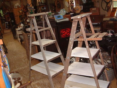 "Antique Vintage 59"" & 56"" SHELF Wood Ladder Step Stool Rustic Decor Shabby look"