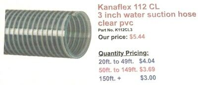 Kanaflex 112 CL 3 inch Water Suction Hose Clear PVC (per foot)