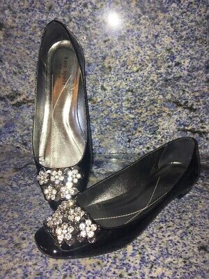 daf3cd8922a1 Kate Spade Black Patent Leather Bow Flower Bow Flats Shoes Size 8.5 B Italy