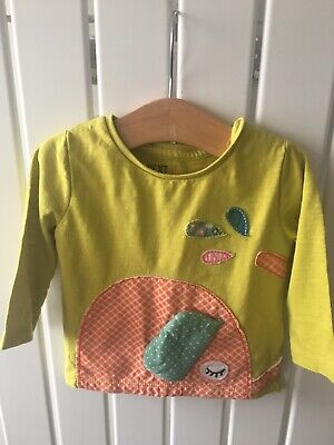 Baby Girls Clothes 3-6 Mths - Green Elephant Theme Long Sleeve Top By NEXT 🐤🐤