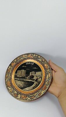 Vintage Bowl Copper Wall Decor Hammered Unique Round Dish Solid Art Hand Carved