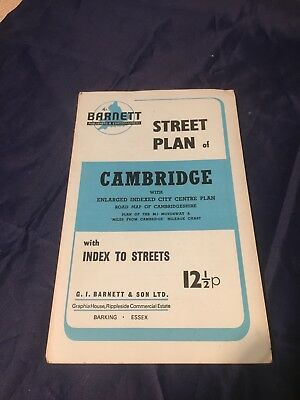 Vintage Old Official Street Plan Map Index To Streets CAMBRIDGE  By Barnett