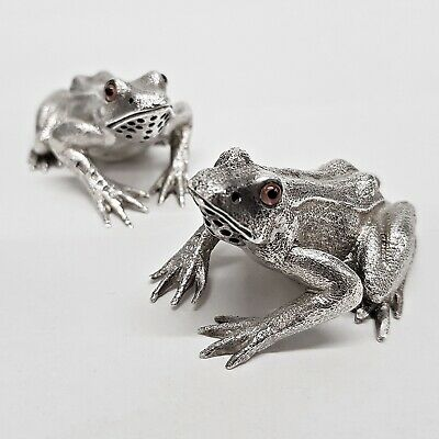 Antique Silver Frog Peppers by SAMPSON MORDAN & CO London 1881. Stock ID 9372