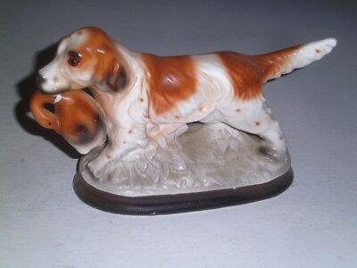 Vintage Hunting Dog Porcelain Figurine Duck
